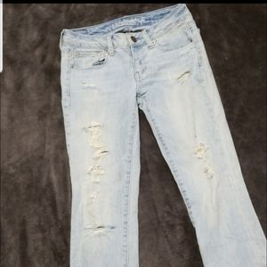 AMERICAN EAGLE DISTRESSED SKINNY STRETCH JEANS